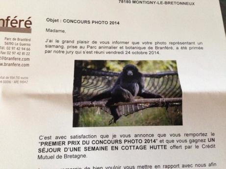 1 er prix du concours du zoo de Branféré en aout 2014