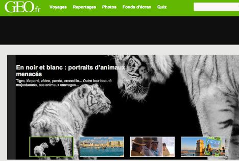 Mise en avant sur le site Geo.fr de mes photos sur fonds noir